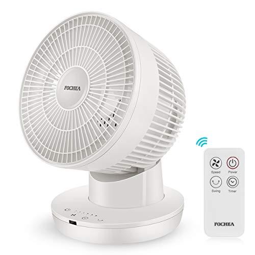 FOCHEA - Ventilador de mesa turbo potente con 6 velocidades, oscilante 70°, oscilante horizontal 90° manual, oscilante vertical