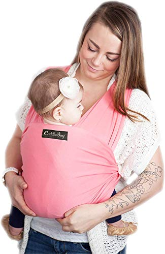 CuddleBug Fular Portabebés – Canguro para Bebés Recién Nacidos y Niños hasta 16 Kg – Manos libres - Porta Bebés de Tela Suave y Elástico – Ideal como Regalo de Babyshower – Talla Única - (Rosa)