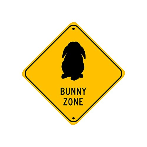Lop Bunny Zone; pet rabbit novelty sign, aluminum, 6', glossy black on caution yellow