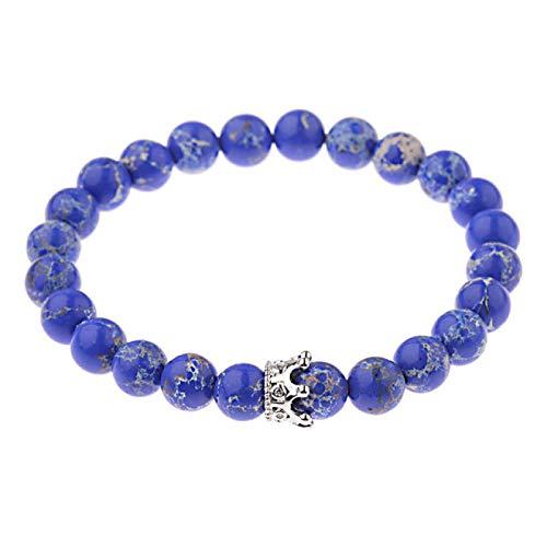 Pulsera De Piedra Brazaletes Muñequera,Royal Blue Onyx Beads King Queen Crown Pulsera Pareja 8 Mm Black Lava Piedra Natural Brazalete Elástico con Cuentas para Hombres Mujeres Accesorios Joyas De Yo