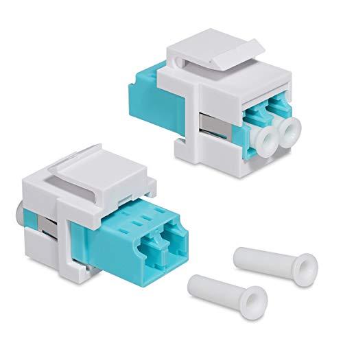 kwmobile 2 x Keystone optisk nätverkskabel modul – koppling multimode glasfiber – anslutning för LC-duplex-kabel till patchpanel eller kopplingsdosor