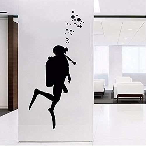 Calcomanías de arte de pared de buceador de fuego para decoración de oficina, disfraz de extintor etiqueta de pared de vinilo decoración de pared de arte mural de oficina 103X42 cm