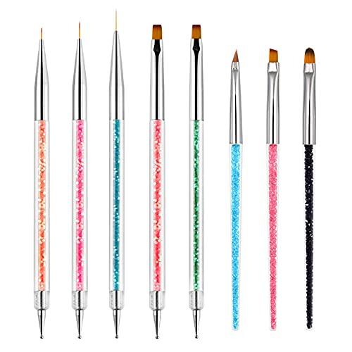 Funktions-Nagelpinsel für Dotting Zeichnung Malerei Werkzeuge Liner Design Nail Art mit Glitzer Griff (8)