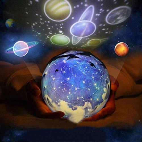 Bola de cristal Rotación de cielo estrellado de la lámpara del proyector...