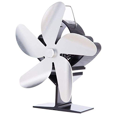 5 Blade Heat Powered Stove Fireplace Fan Fuel Saving Silent Ecofan for Wood Log (Color : Silver)