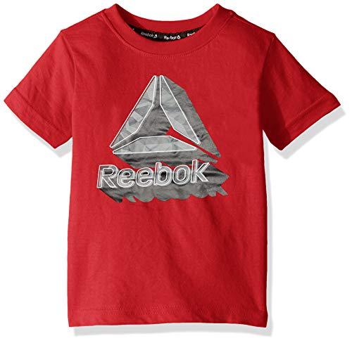 Reebok Boys' Little Short Sleeve Basic T-Shirt, 3D Art True Red, 4