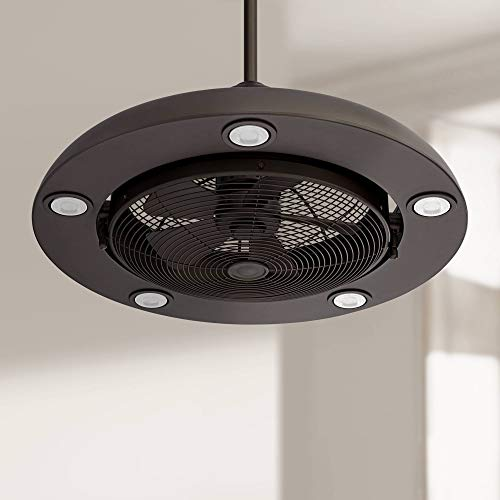 """26"""" Segue Modern Retro Indoor Ceiling Fan with Light LED Remote Control Bronze Cage for Living Room Kitchen Bedroom Family Dining - Possini Euro Design"""