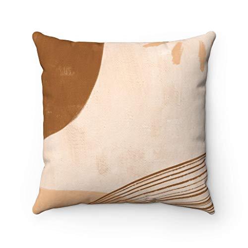 Lplpol Canvas Throw Pillow Cover Desert Sun Beige Brown Abstract Art Square Decorative Modern Pillowcase 22 Inch Christmas Festival Decorations