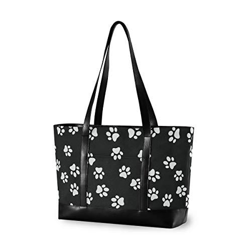 Black White Footprints Laptop Bag for Women Canvas Messenger Bag Business Office School Computer Bag for 15.6 Inch Laptop & Tablet Professional Large Capacity Briefcase Handbag Shoulder Bag