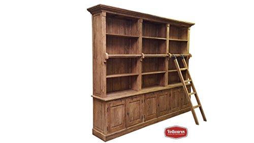 TEAK BIBLIOTHEK BÜCHERREGAL SE38-2 Teakholz antik HB 250x300 Regal Bücherschrank