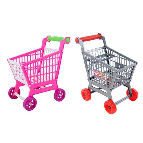 TOYANDONA 2 Sets Mini Supermercado Carretilla de Mano Mini Carrito de Compras Utilidad Carrito Modo Almacenamiento Juguete para Niños Niños