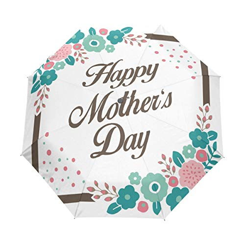 DEZIRO Happy Mothers Day Design Three Fold Outdoor?Paraplu?Auto open Waterdicht