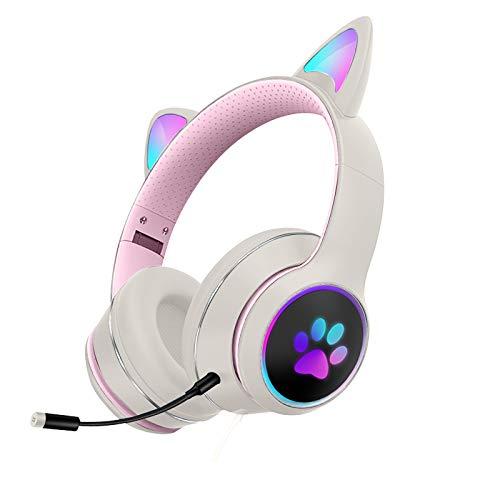 Soolike Auricular con Cable con Orejas de Gato, Auriculares Cascos Plegables con Micrófono, Auriculares Diadema Bluetooth para Niña A-Apple Android PC
