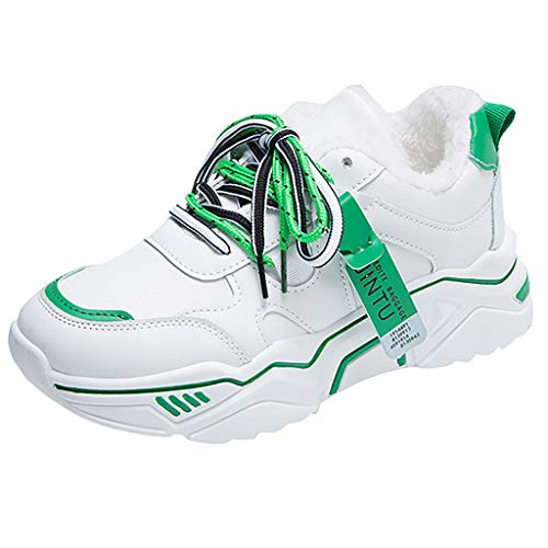Women Winter Plush Warm Wild Running Shoes Light Comfortable Trendy Lace-up Sport Casual Shoes (Green, 8)