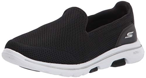 Skechers Damen Go Walk 5 Slip On Sneaker, Schwarz (Black Textile/White Trim Bkw), 38 EU (5 UK)
