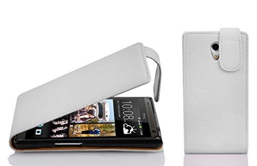 Preisvergleich Produktbild Cadorabo Hülle für HTC Desire 700 - Hülle in Magnesium WEIß Handyhülle aus Strukturiertem Kunstleder im Flip Design - Case Cover Schutzhülle Etui Tasche