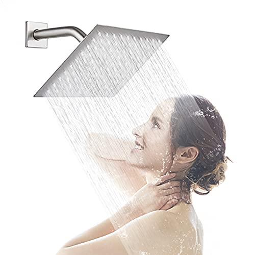 AWARA 8 Inch Rain Shower Head, Square Ultra Thin 304 Stainless Steel High Pressure Shower Head, Brushed Nickel Rainfall Shower Head, Modern Waterfall Shower Head