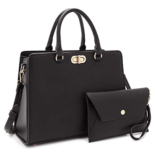 Dasein Women Handbags Fashion Satchel Purses Top Handle Tote Work Bags Shoulder Bags with Matching Clutch 2pcs Set (Peppled black)