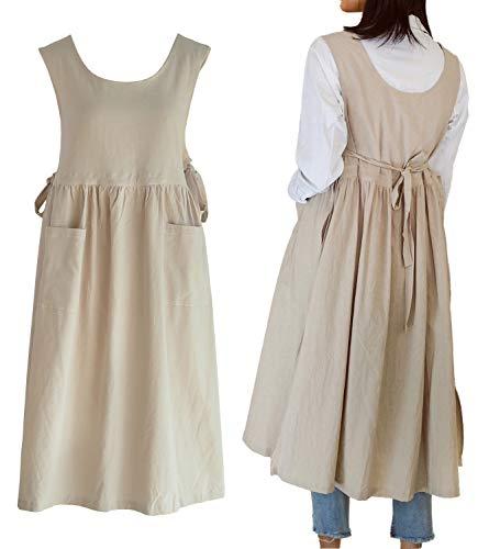 Women Plus Size Cotton Linen Vintage Pleated Split Apron Pinafore Dress with Two Pockets (beige, 43.4'L)