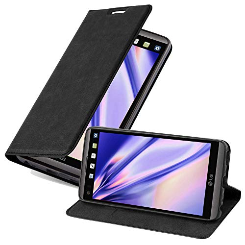 Cadorabo Hülle für LG V20 - Hülle in Nacht SCHWARZ – Handyhülle mit Magnetverschluss, Standfunktion & Kartenfach - Hülle Cover Schutzhülle Etui Tasche Book Klapp Style