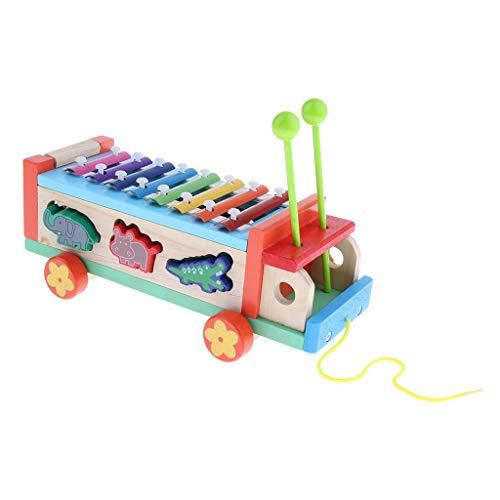 sharprepublic 8 Tasten Buntes Animal Pull Glockenspiel Klavier Percussion Instrument Toy
