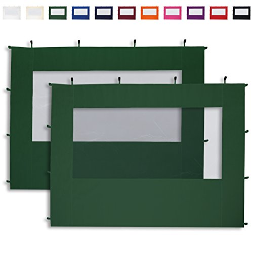TOOLPORT 2 Seitenteile mit Panoramafenstern in dunkelgrün für 3x3 m Falt Pavillon Faltpavillon Eco Aluminium von PROFIZELT24