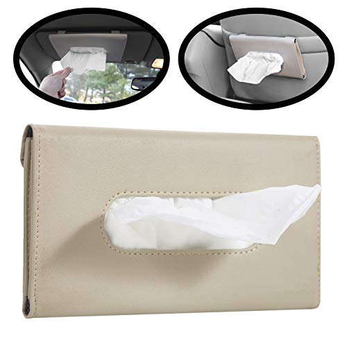 lebogner Car Sun Visor Tissue Holder, Beige PU Leather Tissue Dispenser Hanging Case to Clip On Your Car Door Or Back Seat Pocket, Interior Accessories Pouch for Wipes, Bonus Pack of Napkins Included