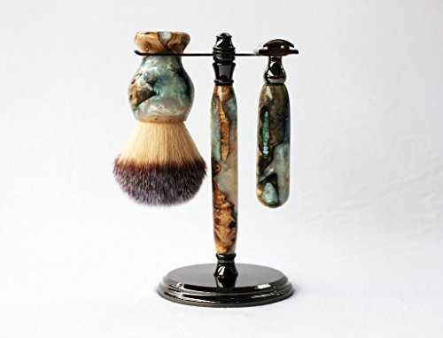 One of a kind Handmade Buckeye Burl Shave Set with 'Travel to Jupiter' Resin