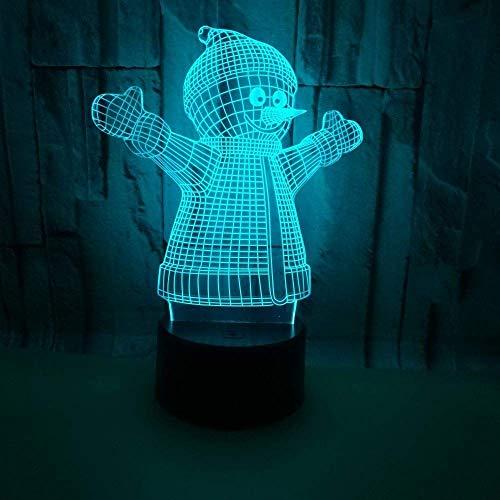 Lámpara de mesa Mu?eco de nieve navide?o LED degradado colorido estéreo atmosférico luz táctil 3D luz nocturna USB remoto mesita de noche decoración creativa escritorio regalo de cumplea?os 20 * 13 cm