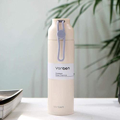 JISHIYU - Q - Taza de acero inoxidable simple con correa de silicona de 350 ml, botella de agua caliente de acero inoxidable, taza térmica de viaje (color: blanco)