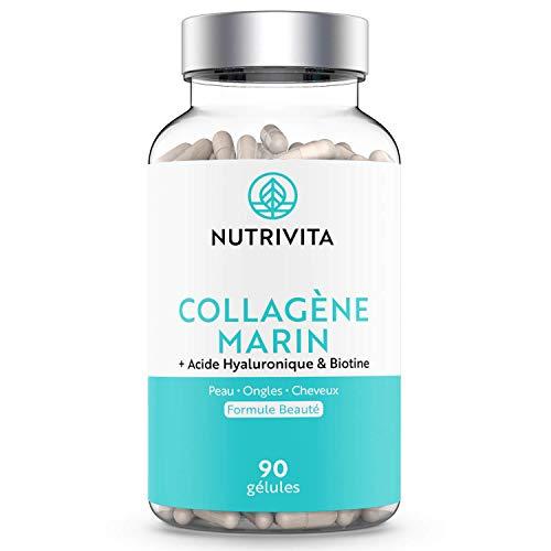 Colágeno Marino 1000 mg | Dosis Elevada | Con Ácido Hialurónico, Zinc y Biotina | Piel, Cabello y Uñas | 90 cápsulas | Fabricado en Francia | Nutrivita