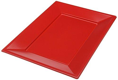 amscan 997424 Red Rectangular Plastic Serving Platters-3 Pcs