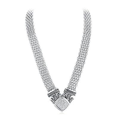 UNY Short Necklace 48cm Popcorn Chain Pave Rhinestone Classic Elegant Vintage Antique Jewelry (Gold)