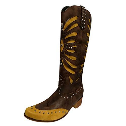 serliy😛Damen Niet Stiefel, Frauen Steampunk Gothic Vintage Rome Style Schnalle Militär Kampfstiefel Ritterstiefel Chelsea Boots