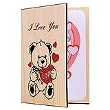 STOBOK - Biglietto di auguri, in legno, romantico, per la festa della mamma, San Valentino, compleanno
