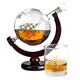 Juego de jarra de whisky de cristal con mapa del mundo grabado, incluye 1 vaso de whisky, decantador...