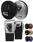 RDX Manoplas de Boxeo y Guantes Niño Entrenamiento Muay Thai Paos Saco Junior MMA Kick Boxing Almohadilla Artes Marciales Escudo Patada Kids Gancho y Jab Pad Focus Pads