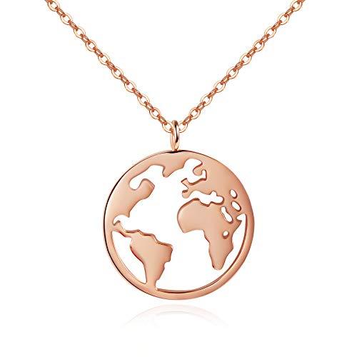 URBANHELDEN - Damen-Kette mit Weltkarten Anhänger - Hochwertige Hals Kette World Amulett aus Edelstahl - Damen Schmuck in Rosegold