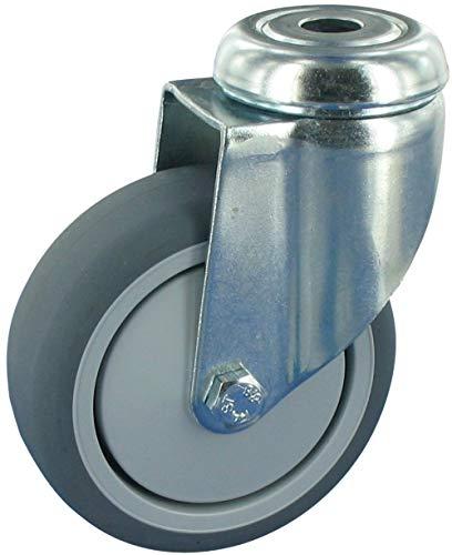 Ruedas giratorias sin tope, 75 mm de diámetro, caucho TPE, agujero en...