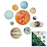 10-Planeten Sonnensystem Wandtattoo Leuchtend Set für Wanddeko,Leuchtsticker Sonne Erde Fluoreszierend Wandaufkleber Weltall Universum Weltraum Nachtleuchtend Wandsticker für Kinderzimmer Schlafzimmer