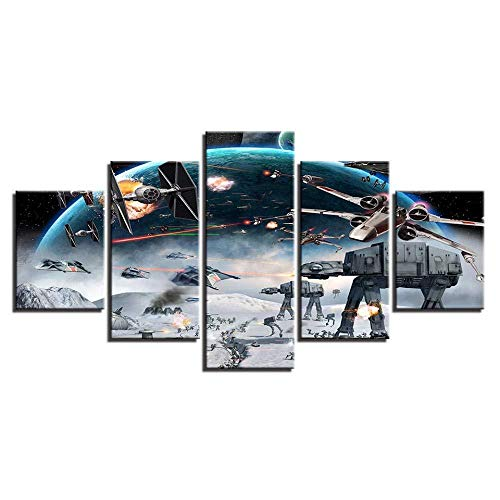XIANGLL Cuadro En Lienzo,5PC HD Wallpapers Art Canvas Print Modern Poster Modular Art Painting For Living Room Home Decor Millennium Falcon X-Wing 5PC Panels Modern Canvas Prints Abstract Pictures