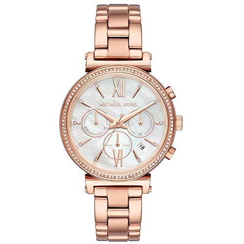 Michael Kors Damen Chronograph Quarz Uhr mit Edelstahl Armband MK6576