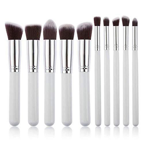 MEISINI Makeup Brushes Cosmetics Foundation Blush Make Up Brush Tool Kit Set, 10 Silver White