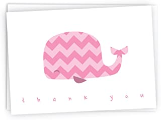 Colorful Chevron Whales Baby Thank You Note Cards - 48 Cards & Envelopes (Pink)