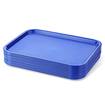 New Star Foodservice 24364 Blue Plastic Fast Food Tray 10 by 14 Inch Set of 12