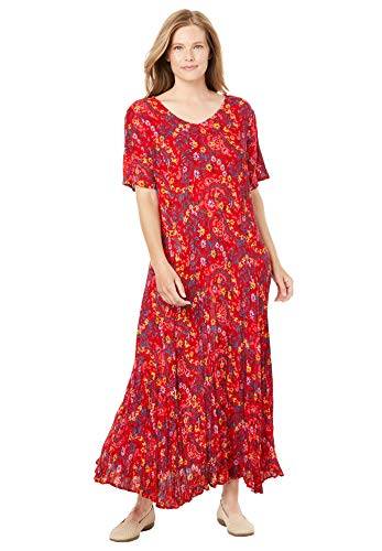 Woman Within Women's Plus Size Petite Crinkle Dress - 4X, Vivid Red Leaf Paisley