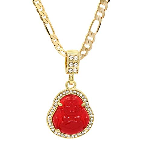L & L Nation 14K Gold Plated High Fashion Lucky Smiling Buddha Charm Pendant Green Red White Black Blue On Valentino Chain (2.RED)