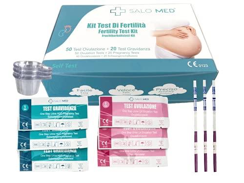 SALO MED - Fruchtbarkeitstest-Kit für Frauen - 50 Ovulationstests + 20 Schwangerschaftstests - Einzeln verpackt, Urinteststreifen (50 LH + 20 HCG) mit 70 Urinbechern enthalten