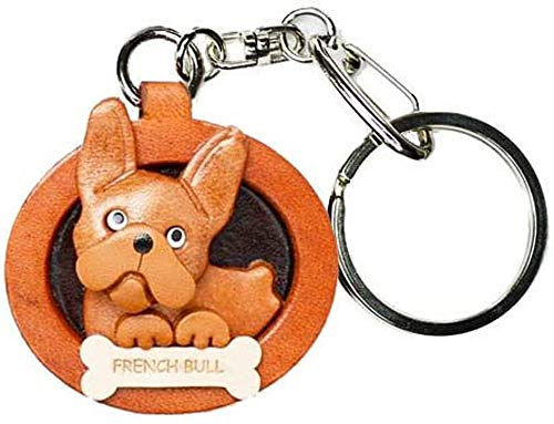 French Bulldog Leather Plate Dog Keychain VANCA Craft-Collectible Keyring Made in Japan