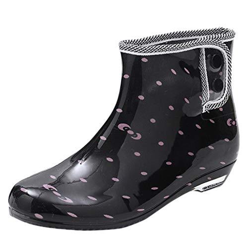 Overmal Damen Regenstiefel Tube rutschfeste wasserdichte Wasserschuhe Gummistiefelette Ankle Rain Boot Gummistiefel PVC | Regenschuhe | Schadstofffreie Unisex Regen-Stiefel | Viele Farben